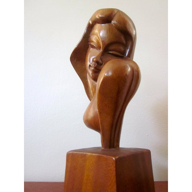 Alii Tiki Modernist Abstract Carved Wood Sculpture - Image 11 of 11