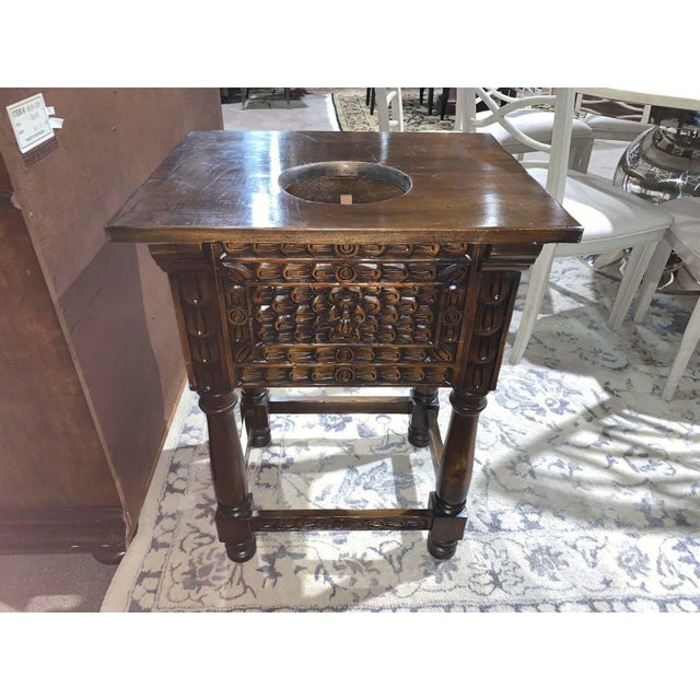 Hand Carved Wooden Vanity & Hand Painted Sink For Sale - Image 4 of 12
