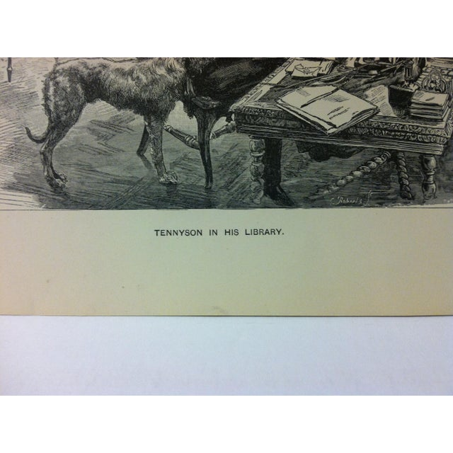 """English Antique Black & White Print on Paper, """"Tennyson in His Library"""", Circa 1880 For Sale - Image 3 of 4"""