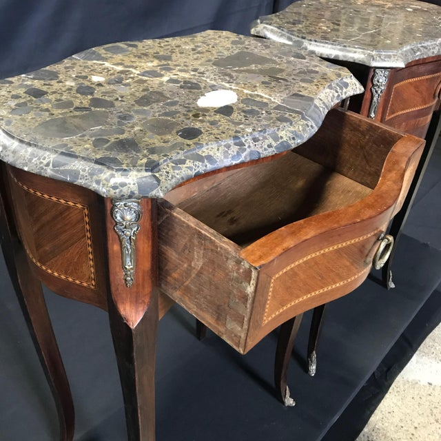 French Vintage Mahogany & Satinwood Inlay Night Stands With Marble Tops -A Pair For Sale - Image 10 of 12