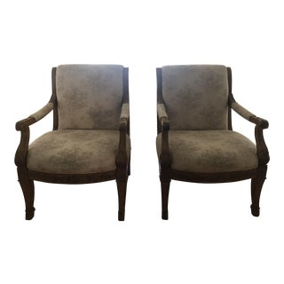 Linen Bergere Chairs - A Pair For Sale