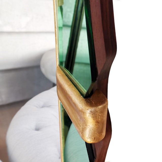 1950´s Large Mirror, Green Mirrors Frame and Golden Leaf Wood - Italy For Sale - Image 6 of 8