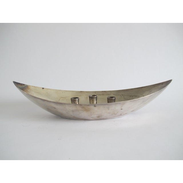 Mid-century Silver-Plated Candleholder - Image 6 of 6