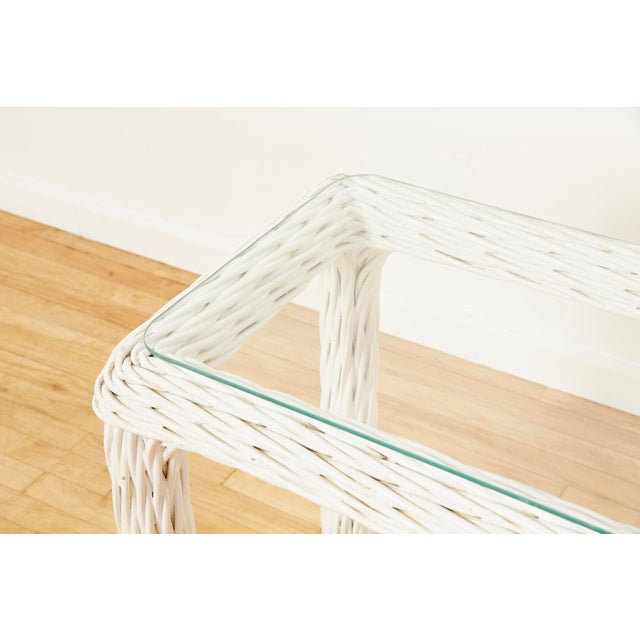 Wicker Vintage Thick White Wicker Console Table, 1980s For Sale - Image 7 of 13
