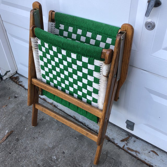 1970s 1970s Antique Green Woven Scandinavian Style Folding Wooden Chair For Sale - Image 5 of 7