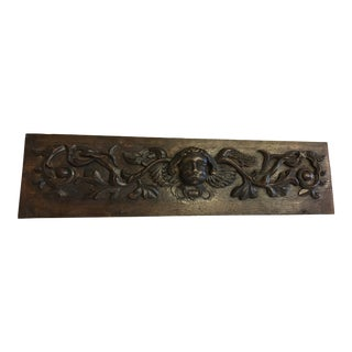 Antique 1810s French Wooden Fragment Pediment Angel For Sale