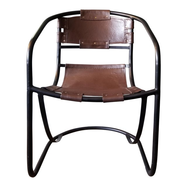 Tobacco Leather Round Lounger Chair - Image 1 of 9