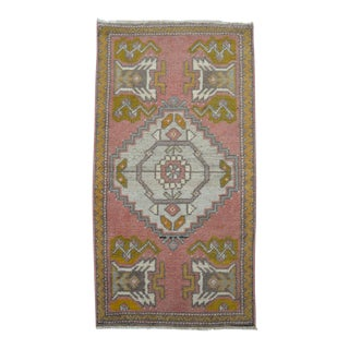 Hand Made Small Oushak Rug Faded Mat - 20'' X 37'' For Sale