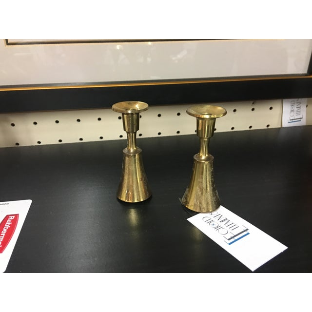 Danish Brass Thin Candlesticks - a Pair - Image 3 of 5