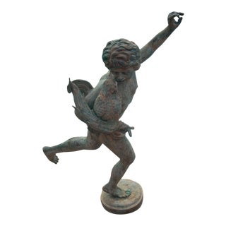 Early 20th Century Vintage Idyllic Metal Garden Cherub Statue For Sale
