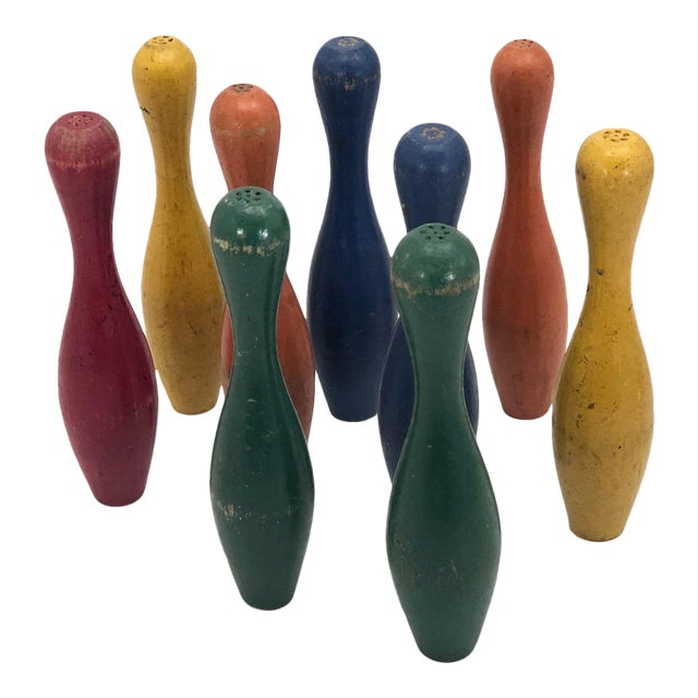 Early 20th Century Vintage Painted Wooden Toy Bowling Pins - Set of 9 For Sale
