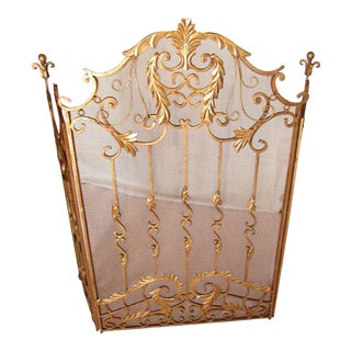American Decorative Arte De Mexico Gilt Iron Fireplace Screen For Sale