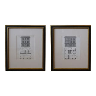 """Mid 19th Century """"Design for a First Class Tavern"""" American Architecural Engravings - a Pair For Sale"""