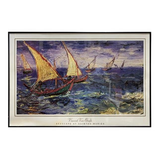 "Vintage Large Framed Vincent Van Gogh ""Seascape at Saints-Maries"" Print For Sale"