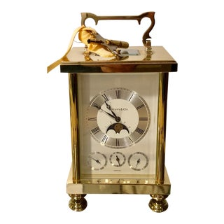 Vintage Tiffany & Co Swiss Moon Phase Carriage Clock For Sale