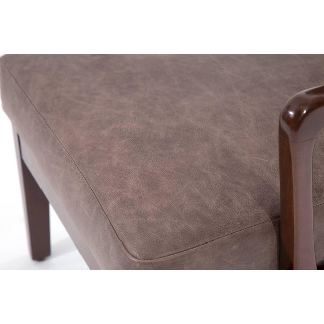 1950s 1950s Scandinavian Leather Wingback Chair For Sale - Image 5 of 7