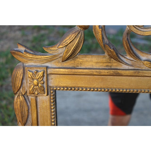 1940's Neoclassical Style Carved Walnut Wall Mirror For Sale - Image 10 of 13