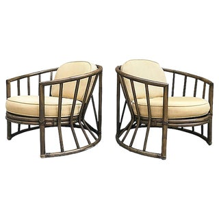 Brown Jordan Rattan Patio Chairs, Pair For Sale