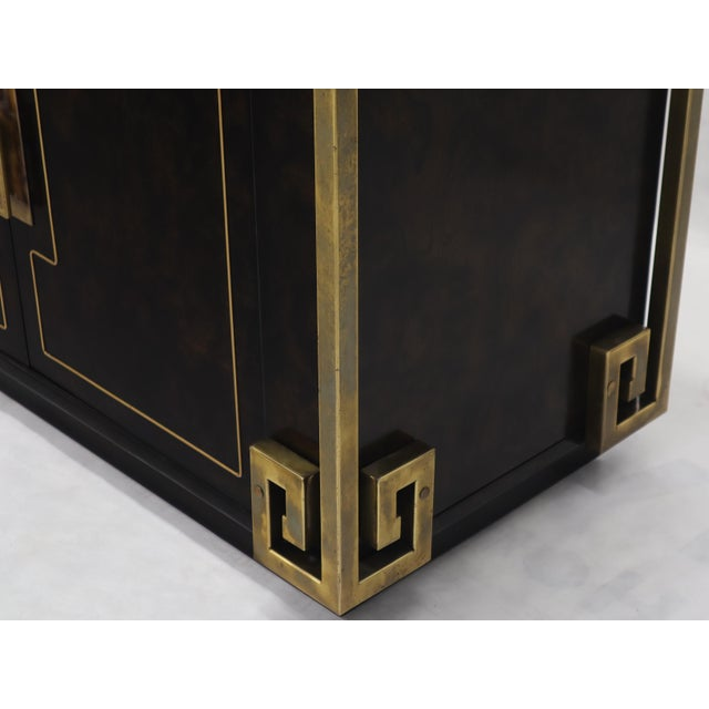 Mid-Century Modern Mastercraft Burl Wood and Brass Greek Key Ornament Long Sideboard Credenza For Sale - Image 3 of 13