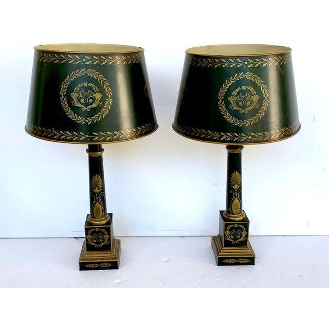 Mid 20th Century Empire Style Tole Lamps - a Pair For Sale - Image 5 of 11