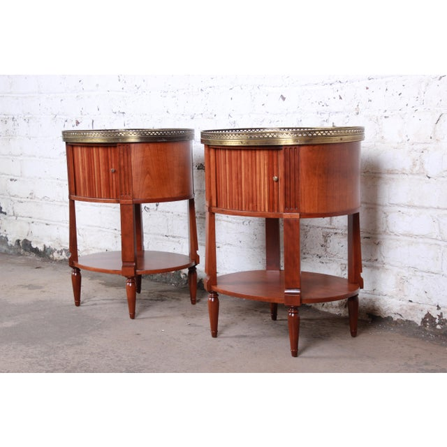 French Baker Furniture French Regency Cherry and Brass Tambour Door Nightstands, Pair For Sale - Image 3 of 13