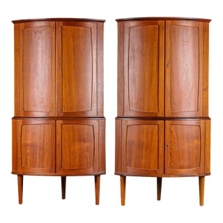 Bow Front Teak Corner Cabinets - A Pair For Sale