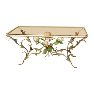 Iron & Glass Italian Tole Painted Coffee Table For Sale