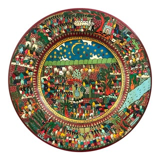 Vintage Mexican Folk Art Hand Painted Wedding Plate Wall Charger For Sale