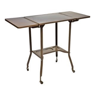 Vintage Industrial Beige Typewriter Table with Double Drop Leaf