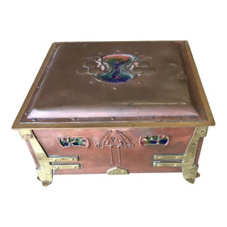 Vienna Secessionist Copper Trinket Box For Sale
