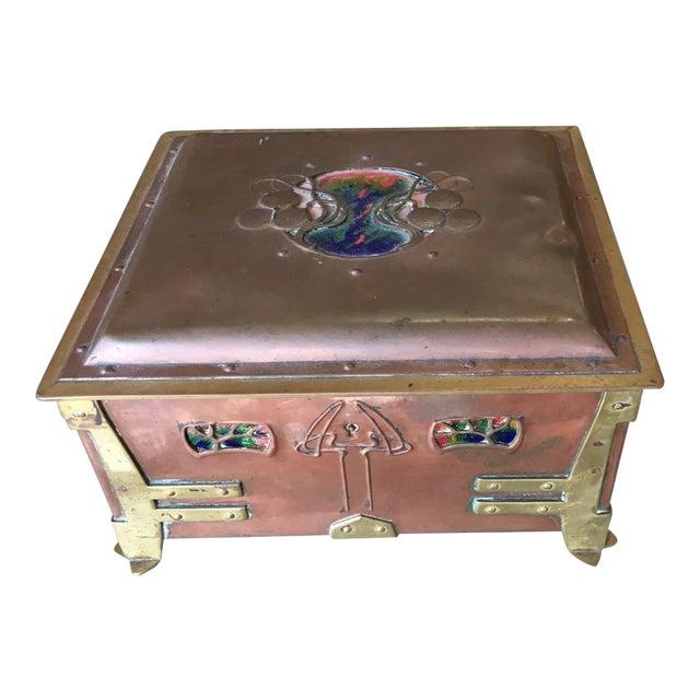 Vienna Secessionist Copper Trinket Box For Sale