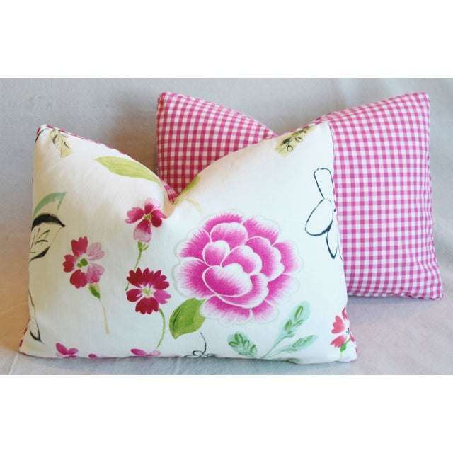 "French Manuel Canovas Floral Linen Feather/Down Pillows 22"" X 16"" - Pair For Sale - Image 11 of 13"