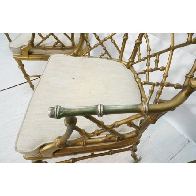 Phyllis Morris 1970s Hollywood Regency Phyllis Morris Metal Bamboo Armchairs - Set of 4 For Sale - Image 4 of 6