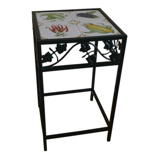 Green Wrought Iron & Ceramic Tiles Side Table For Sale