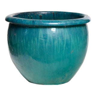 1980s Vintage Teal Ceramic Planter For Sale