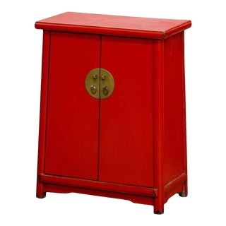 Red Shanxi Elmwood Chinese Cabinet For Sale