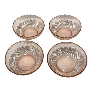 20th Century French Pink Glass Dessert Bowls - Set of 4 For Sale