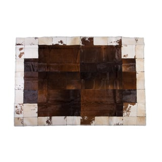 "Modern Cowhide Patchwork Rug - 8'9"" X 6'3"" For Sale"
