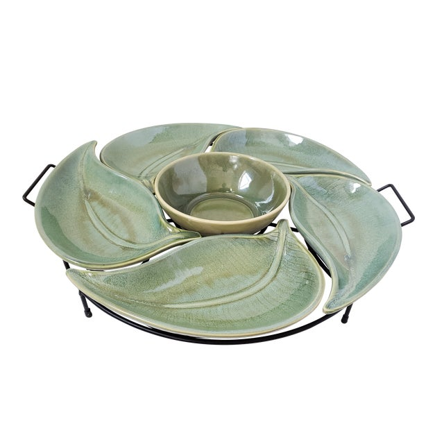 American Atelier Banana Leaf Stoneware Serving Tray For Sale