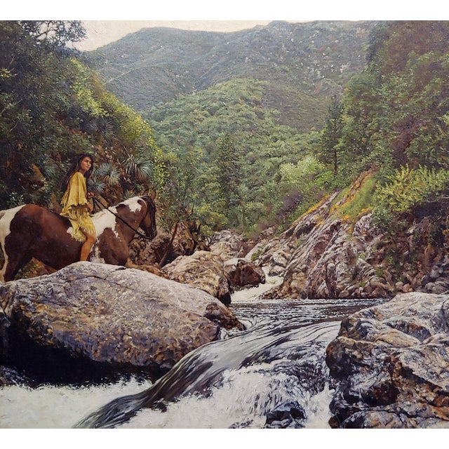 1980s 1980s Figurative Oil Painting, Indian Woman on Horseback in a Beautiful Landscape by Craig Tennant For Sale - Image 5 of 10