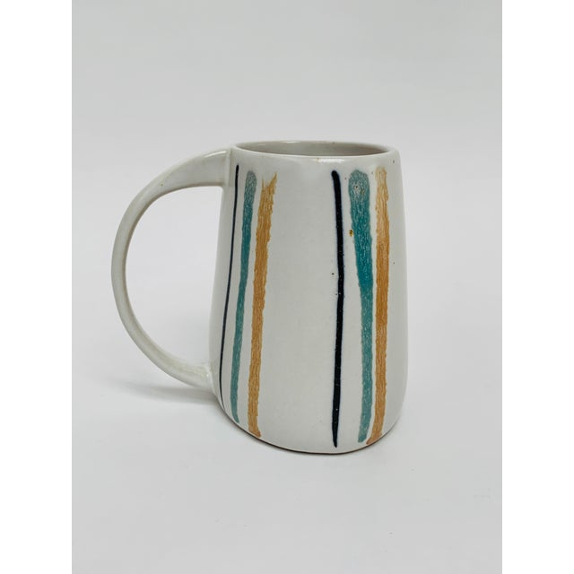 1960s 1960s Mid Century Modern Striped Oval Stoneware Mug From Bennington Potters For Sale - Image 5 of 13