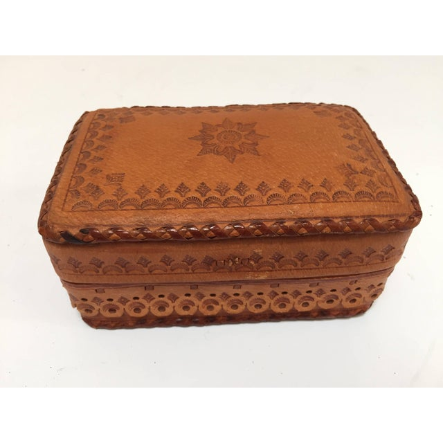 Leather Vintage Brown Box Hand Tooled in Morocco With Tribal African Designs For Sale - Image 13 of 13