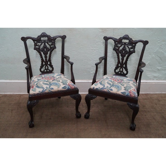 Honduras Mahogany Carved Dining Chairs - Set of 8 - Image 5 of 10