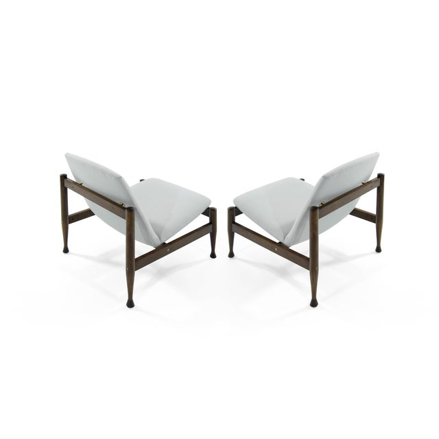 Mid 20th Century Danish Modern Brass Accented Lounge Chairs - a Pair For Sale - Image 5 of 10