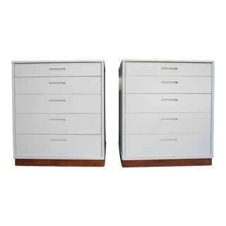 Modern White Nightstands - a Pair For Sale