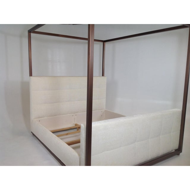 Modern Canopy Bed With Copper Finish and Chenille Fabric For Sale In San Diego - Image 6 of 8