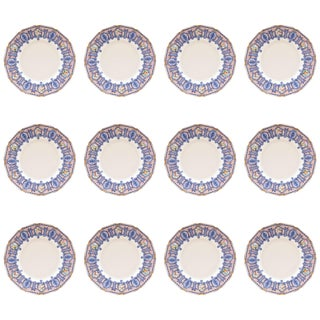 12 Antique Dessert Plates, Blue With Roses, Custom Ordered Marshall Fields For Sale