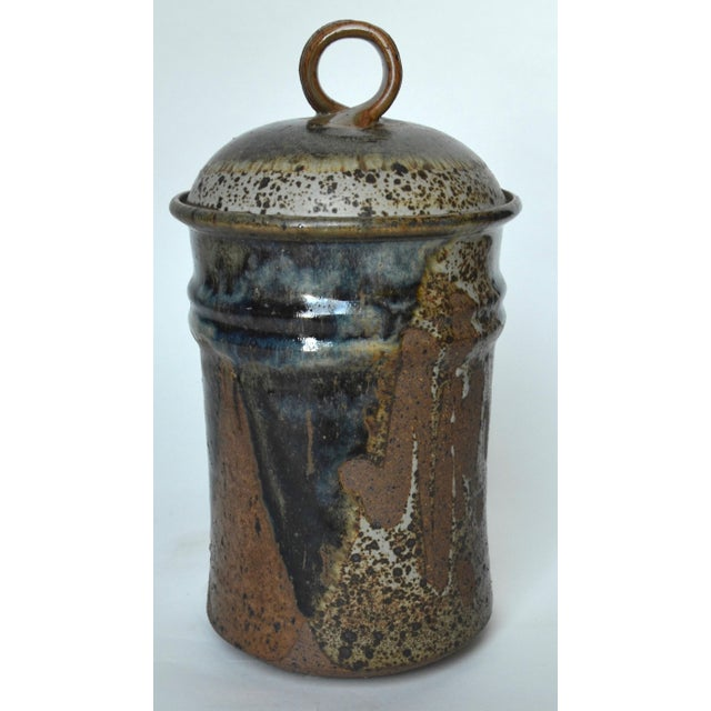 """Mid Century Tall Stoneware Lidded Container Jar 11"""" For Sale In Los Angeles - Image 6 of 6"""