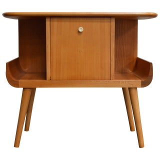 Swedish Mid-Century Golden Elm Side Table With Door For Sale
