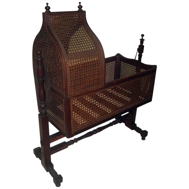 19th Century Gothic Revival Walnut Swinging Cradle For Sale